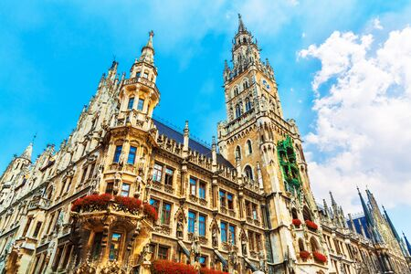 Scenic summer view of ancient gothic City Hall building architecture in the Old Town of Munich, Bavaria, Germany