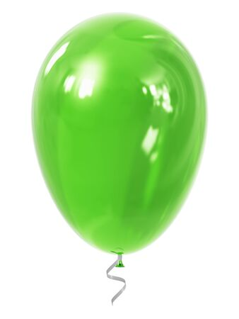inflatable ball: Creative abstract holiday celebration concept: 3D render illustration of green shiny transparent inflatable rubber air balloon or ball isolated on white background