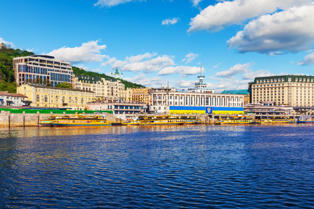 Scenic summer view of the Dnieper River embankment in the Old Town of Kyiv, Ukraine