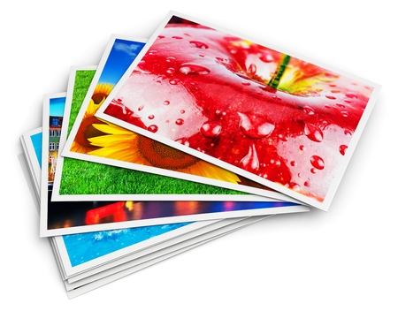 Creative abstract digital photography and photographic picture visual imaging art concept: 3D render illustration of the stack of colorful photo cards isolated on white background