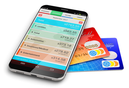 finance manager: Creative abstract business financial accounting, electronic banking and making money success concept: 3D render illustration of modern black glossy touchscreen smartphone with finance manager software app or application and color plastic bank credit cards