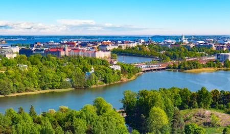 Scenic summer aerial panorama of the Old Town architecture in Helsinki, Finland