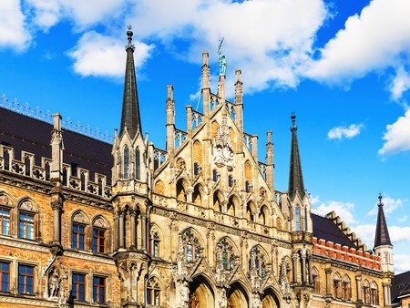 europe: Scenic summer view of ancient gothic City Hall building architecture in the Old Town of Munich, Bavaria, Germany