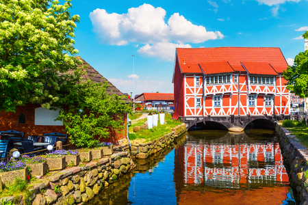 river: Scenic summer view of the Old Town architecture in Wismar, Mecklenburg region, Germany Stock Photo