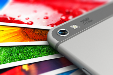 Creative abstract mobile digital photography and wireless internet web technology business concept: 3D render illustration of the macro view of camera lens of modern black glossy touchscreen smartphone or mobile phone and group of color pictures or photos