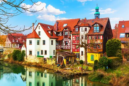 europe: Scenic view of traditional architecture with medieval half-timbered houses in Lauf an der Pegnitz, Bavaria, Germany