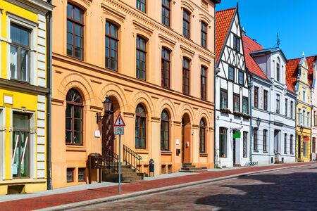 Scenic summer view of the Old Town architecture in Wismar, Mecklenburg region, Germany Stock Photo