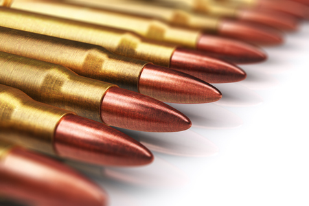 Creative abstract war and automatic machine gun shooting or firing military ammo concept: 3D render illustration of macro view of the row of metal brass cartridge shells with copper and lead bullets isolated on white background with reflection effect