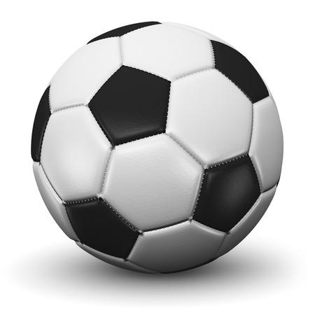 創造的な抽象的なスポーツ競争コンテストとの世界選手権マッチ概念: 3 D レンダラ ・白い背景で隔離のフットボールまたはサッカー ボールのイラス 写真素材