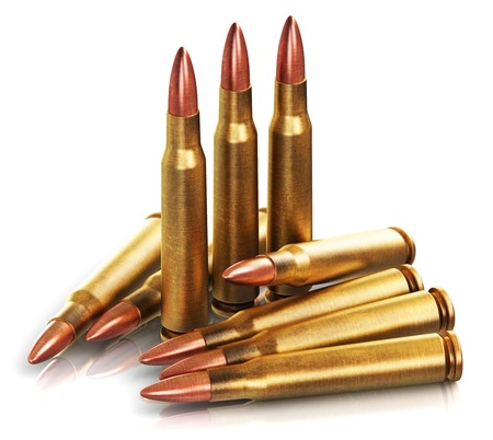 Creative abstract war and automatic machine gun shooting or firing military ammo concept: 3D render illustration of the group of metal brass cartridge shells with copper and lead bullets isolated on white background with reflection effect Stock Photo