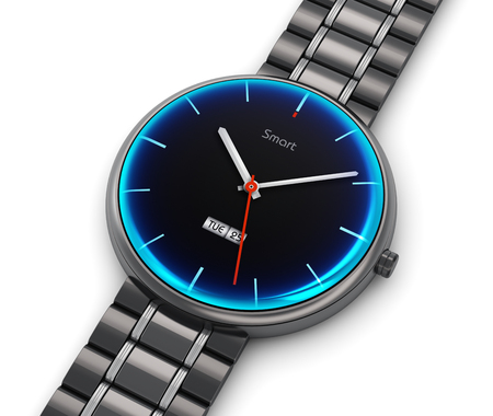 titanium: Creative abstract business mobility and modern mobile wearable device technology concept: 3D render illustration of stainless steel luxury digital smart watch or clock with color screen interface and titanium bracelet isolated on white background Stock Photo