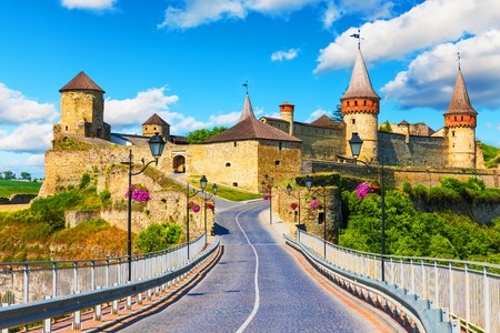 voyage: Scenic summer view of ancient fortress in Kamianets-Podilskyi, Khmelnytskyi Region, Ukraine