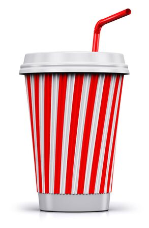 Creative abstract 3D render illustration of red striped plastic or cardboard paper coffee, tea, cola or soda to go or take away drink cup or mug with red straw isolated on white background with reflection effect