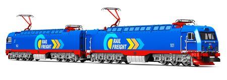 Creative abstract rail freight and cargo shipping logistics industry business concept: 3D render illustration of modern blue heavy freight electric locomotive isolated on white background Stock Photo