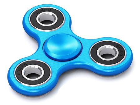 Creative abstract 3D render illustration of blue metal fidget spinner toy isolated on white background with reflection effect