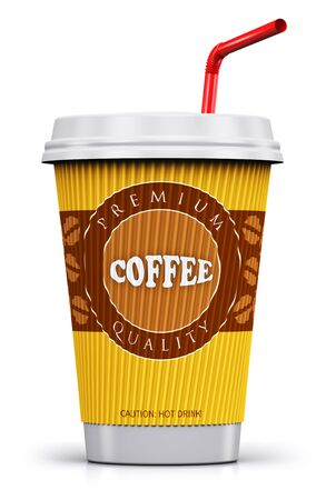 Creative abstract 3D render illustration of plastic or cardboard paper coffee to go or take away drink cup or mug with red straw isolated on white background with reflection effect