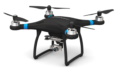 Creative abstract 3D render illustration of professional remote controlled wireless black RC quadcopter drone with 4K video and photo camera for aerial photography isolated on white background