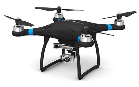 Creative resumen 3D render ilustración de profesional control remoto inalámbrico negro RC quadcopter drone con 4K vídeo y cámara fotográfica para fotografía aérea aisladas sobre fondo blanco