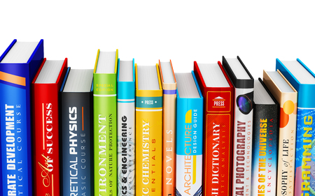 Creative abstract science, knowledge, education, back to school, business and corporate office life concept: 3D render illustration of color hardcover books isolated on white background Foto de archivo
