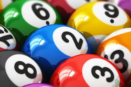3D render illustration of the macro view of color balls with numbers for american billiard game with selective focus effect Stock Photo