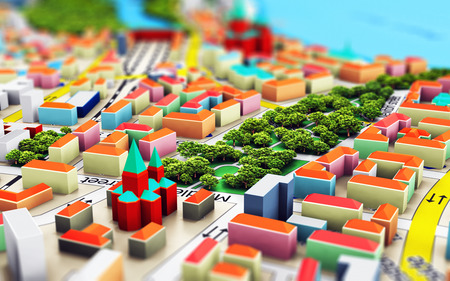 3D render illustration of the macro view of miniature color city map with 3D buildings with selective focus effect