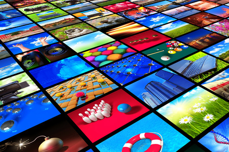 3D render illustration of the collection of colorful pictures or photos Zdjęcie Seryjne