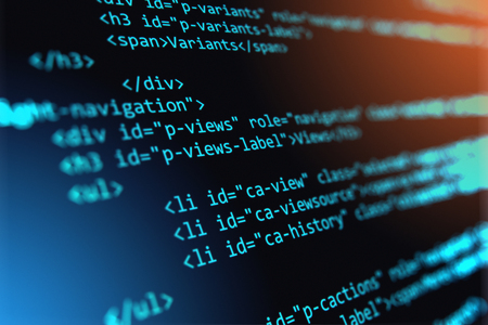 technology: 3D render illustration of the macro view of software source code on screen monitor with selective focus effect Stock Photo