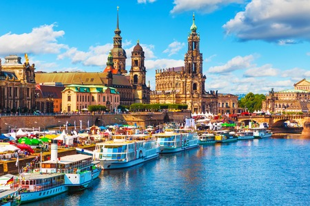 Scenic summer view of the Old Town architecture with Elbe river embankment in Dresden, Saxony, Germany Stock Photo - 83876397