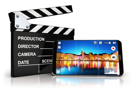 3D render illustration of modern black glossy touchscreen smartphone or mobile phone with photo camera app screen and cinema studio clapper board equipment isolated on white background with reflection effect Stock Photo