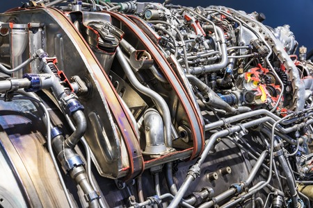 metal structure: macro view of the airliner turbojet turbine engine equipment with selective focus effect Stock Photo