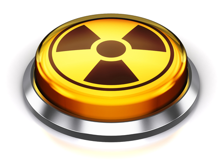 Creative abstract nuclear or atomic energy and military bomb launch and nuke war concept: 3D render illustration of the yellow round button with poison radioactive nuclear radiation symbol isolated on white background with reflection effect Stock Photo