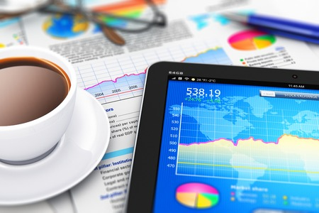 Creative abstract mobile office, stock exchange market trading, statistics accounting, financial development and banking business concept: 3D render illustration of modern tablet computer PC with stock market application software, growth bar chart and pie