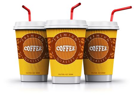 Creatieve abstracte 3D render illustratie van de set, groep of rij van de plastic of kartonnen papier koffie te gaan of weg te nemen drinken wegwerpbekers of mokken met rode rietjes geïsoleerd op een witte achtergrond met reflectie effect