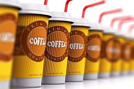 Creative abstract 3D render illustration of the set or group of the plastic or cardboard paper coffee to go or take away drink disposable cups or mugs with red straws arranged in the row and isolated on white background with reflection and selective focus Stock Photo