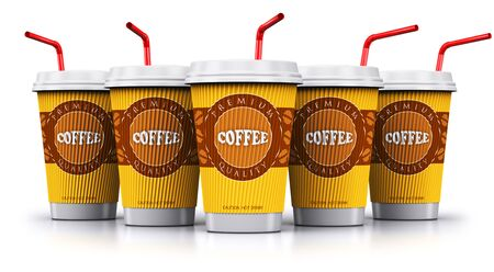 Creative abstract 3D render illustration of the set, group or row of the plastic or cardboard paper coffee to go or take away drink disposable cups or mugs with red straws isolated on white background with reflection effect Stock Photo
