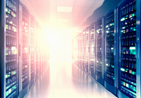 Modern web network and internet telecommunication technology, big data storage and cloud computing computer service business concept: 3D render illustration of the server room interior in datacenter in blue light Фото со стока