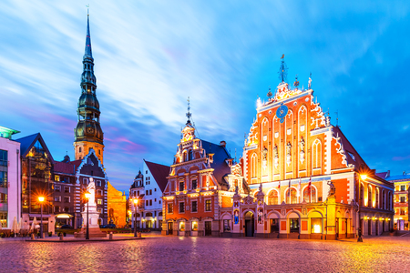Scenic summer evening view of the City Hall Square in the Old Town of Riga, Latvia