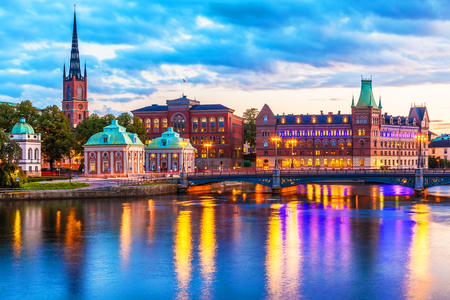 Scenic evening panorama of the Old Town (Gamla Stan) pier architecture in Stockholm, Sweden