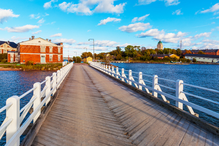 Scenic summer view of the wooden bridge on Suomenlinna Island, Helsinki, Finland