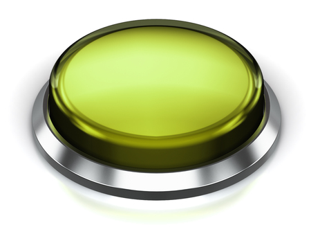 Creative abstract internet web design and online communication business concept: 3D render illustration of the olive green glossy push press button or icon with shiny metal bezel isolated on white background with reflection effect