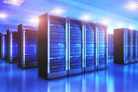 현대 웹 네트워크 및 인터넷 통신 기술, 큰 데이터 저장소 및 클라우드 컴퓨팅 컴퓨터 서비스 비즈니스 개념 : 3D 렌더링 푸른 하늘에 데이터 센터에서