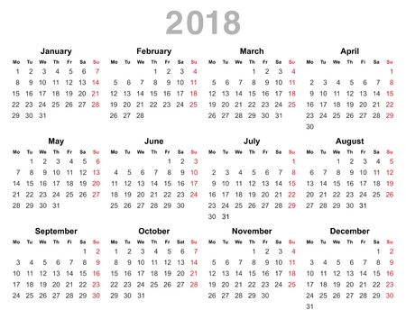 color vector illustration of 2018 year annual calendar monday first english isolated on