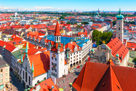 Scenic summer aerial panorama of the Old Town architecture of Munich, Bavaria, Germany