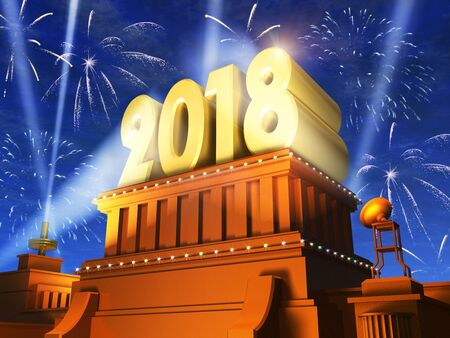 Creative abstract New Year 2018 celebration concept: 3D render illustration of the shiny golden 2018 text on pedestal at night with fireworks in cinema style