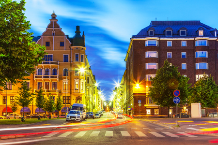 Scenic evening view of the Old Town artchitecture and city street in Helsinki, Finland Stock Photo