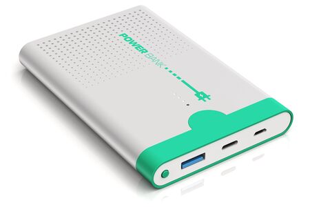 3D render illustration of portable power bank rechargeable battery pack for charging of smartphones, mobile phones, tablet computers and other devices and gadgets isolated on white background