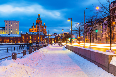 Winter scenery of the Old Town in Helsinki, Finland Stock Photo