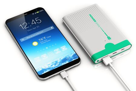 3D render illustration of smartphone or mobile phone charging by a portable power bank rechargeable battery pack isolated on white background