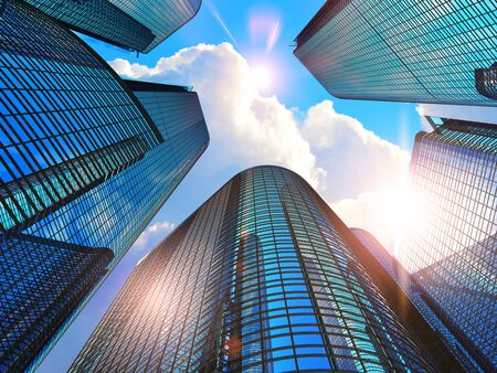 Downtown corporate business district architecture concept: 3D render illustration of the glass reflective office buildings skyscrapers against blue sky with clouds and sun light Stock Photo