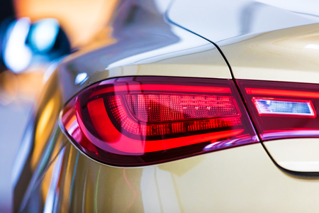Macro view of modern car red rear light
